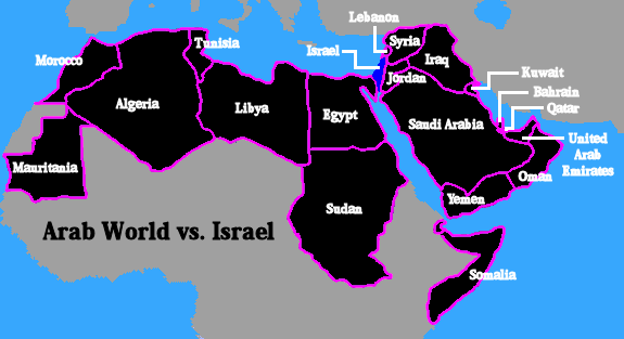 Map of the Arab World and its size vs the size of Israel