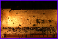 Photo of the Western Wall at night linking to a live streaming picture of the Wall in Jerusalem