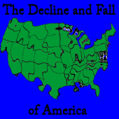 Map of a distorted America which links to a page about the decline and fall of America